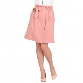 Ρόζ Midi Φούστα με Κουμπιά