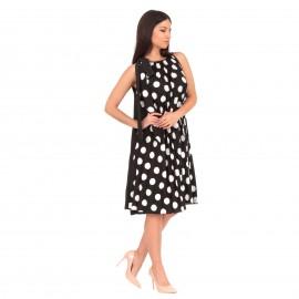 Μαύρο Πουά Midi Φόρεμα