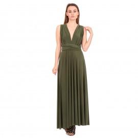 Χακί Maxi Πολυμορφικό Φόρεμα
