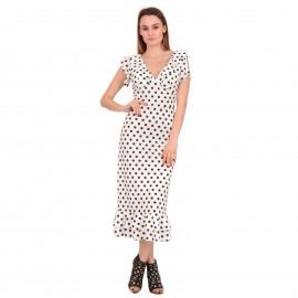 Λευκό Πουά Midi Φόρεμα με...