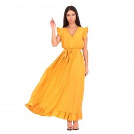 Κίτρινο Maxi Φόρεμα με...