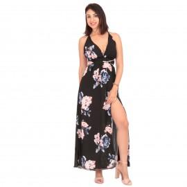 Μαύρο Φλοράλ Maxi Φόρεμα με...