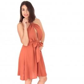 Πορτοκαλί Mini Φόρεμα με...