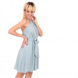 Σιέλ Mini Φόρεμα με Ανοιχτή...