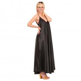 Μαύρο Σατέν Maxi Φόρεμα