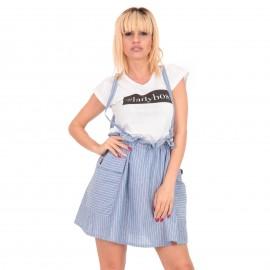 Μπλε Ριγέ Λινό Mini Φόρεμα