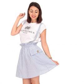 Λευκό Ριγέ Λινό Mini Φόρεμα
