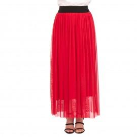 Κόκκινη Maxi Φούστα με Τούλι