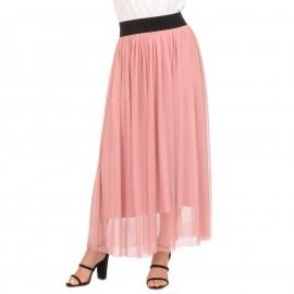 Ροζ Maxi Φούστα με Τούλι