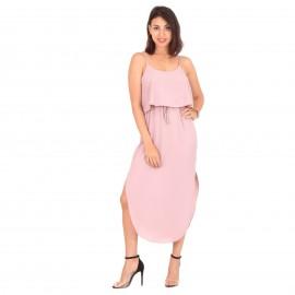 Ροζ Midi Φόρεμα με Ζωνάκι...