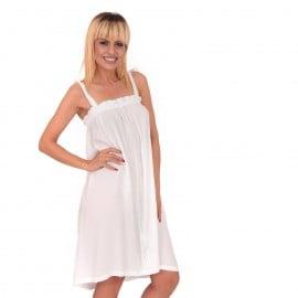 Λευκό Midi Φόρεμα με Βολάν