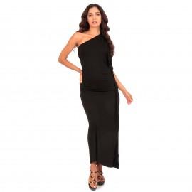 Μαύρο Maxi Φόρεμα με Έναν Ώμο