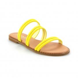Κίτρινο Δερμάτινο Flat Σανδάλι