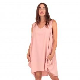 Ρόζ Αμάνικο Mini Φόρεμα