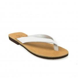 Λευκό Δερμάτινο Flat Σανδάλι